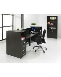 Receptie balie MANAGE-IT, black oak, 288 cm breed